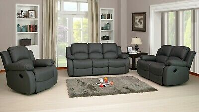 Recliner Sofa Set Leather Aire Grey 3 Piece Suite Sofas Couch Sale 3+2+1 New • 399.99£