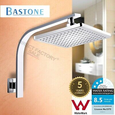 AU59.90 • Buy WELS Chrome 8'' Square Rainfall Shower Head & Gooseneck Wall Arm Set Watermark