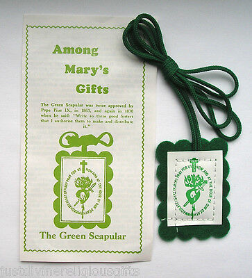 £1.95 • Buy Green Scapular Among Mary's Gifts Religious Immaculate Heart Of Mary Catholic