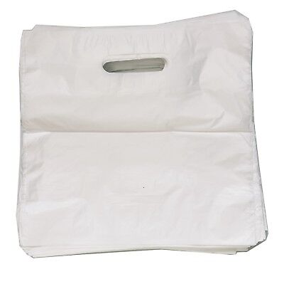 White Plastic Carrier Bags Patch Handle Gift Shopping Strong Plastic  S-M-L-XL • 2.95£