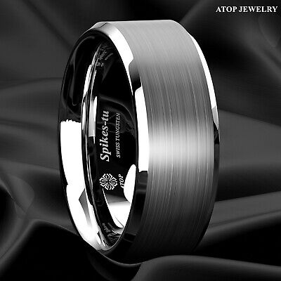 $11.89 • Buy 8mm Brushed Silver Tungsten Carbide Men's Wedding Band Comfort Fit ATOP Ring