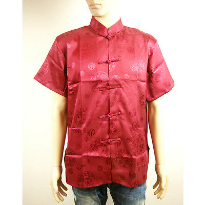 Chinese Oriental Mens Kung Fu Style Red Top Shirt Scripts Charms Dragons Cmssh 1 • 9.99£