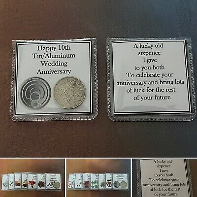 1ST To 10TH Wedding Anniversary Lucky Sixpence Coin Keepsake Pouch Gift Bag • 1.95£
