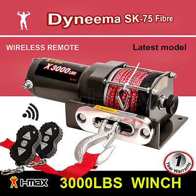 AU139.90 • Buy Winch 12V Wireless 3000LBS 1361KGS Electric Synthetic Rope Red ATV 4WD 4x4 BOAT