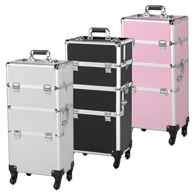 3 In 1 Aluminum Rolling Makeup Train Case Professional Beauty Cosmetic Trolley • 74.99$