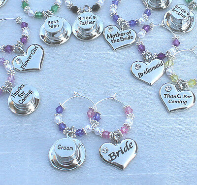 £0.99 • Buy Personalised Wedding Table Decorations Champagne Wine Glass Charms Favours DIY