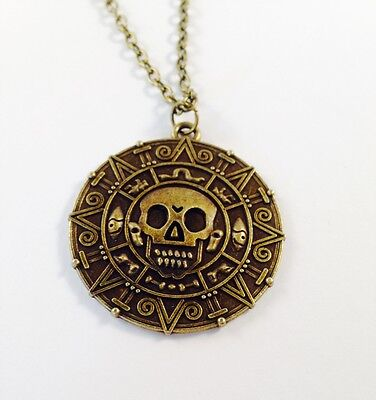 £2.95 • Buy Pirates Of The Caribbean GOLD SKULL COIN TREASURE Pendant Necklace Fancy Dress