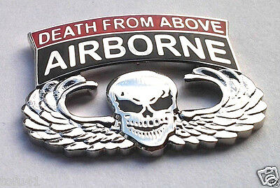$5.69 • Buy ARMY A/B PARATROOPER DEATH FROM ABOVE WINGS (1-1/8 ) Military Hat Pin P14733 EE