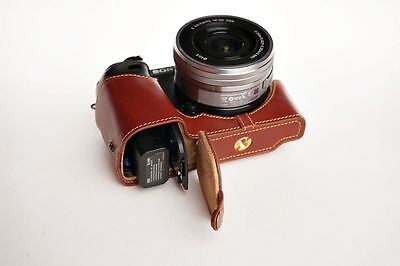 AU66.20 • Buy Genuine Real Leather Half Camera Case Bag Cover For Sony A6000 Bottom Opening