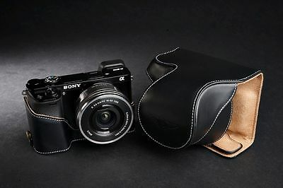 AU101.15 • Buy Genuine Real Leather Full Camera Case Bag For Sony A6000 Bottom Opening Black