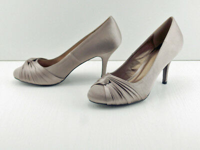 Taupe Silk Satin  Shoe Interwoven Knotted Vamp Court 3'' Heel VT Collection • 19.95£