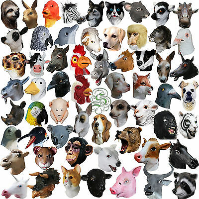 1 . Latex Full Head Overhead Animal Cosplay Masquerade Fancy Dress Carnival Mask • 14.50£