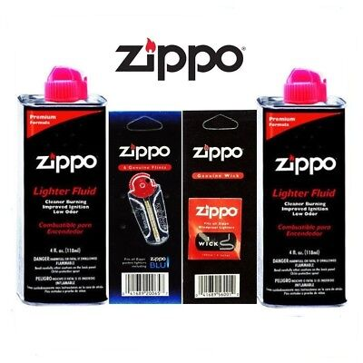 $8.55 • Buy Zippo 2 Can 4oz Fuel Fluid And 1 Flint And 1 Wick GIft Set Value Combo