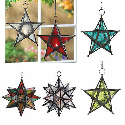 Hanging Wrought Iron Star Tea Light Candle Holder LANTERN Pressed Glass Panels • 39.15$