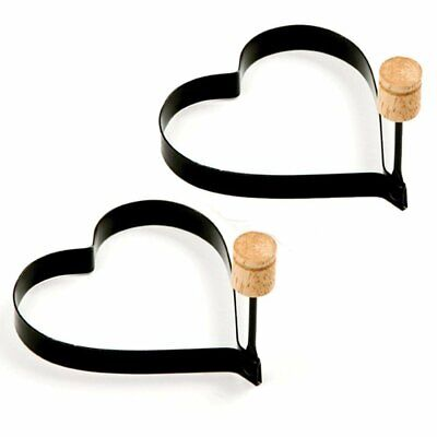 $7.99 • Buy 2-PACK Non Stick Metal Heart Shaped Fried Egg Rings Pancake Mold Ring W/ Handles