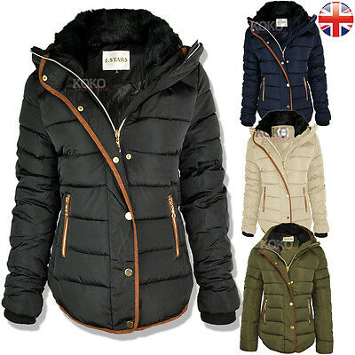Womens Ladies Quilted Winter Coat Puffer Fur Collar Hooded Jacket Parka Size New • 32.99£