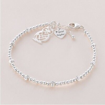 Sterling Silver Bead Bracelet With Engraved Silver Tag And Silver Charm Choice • 29.99£