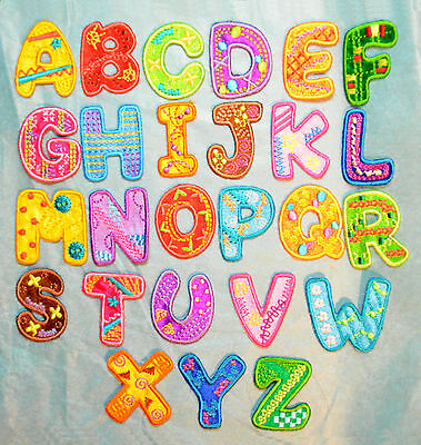 £0.99 • Buy Boys Girls Alphabet Letters Embroidered Motif Fabric Iron On Patch Childrens