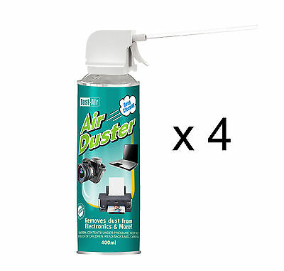 4 X 400ml Compressed Air Duster Cleaner Spray Can Canned Laptop Keyboard Mouse • 12.79£