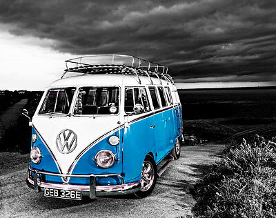 £18 • Buy VW Camper Van Blue Canvas Stretched Wall Art Poster Print Surfing Campervan Car