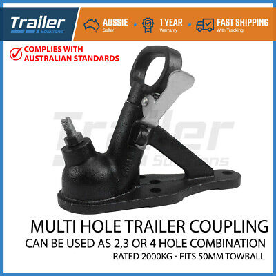 AU32.63 • Buy Trailer Hitch 3 Hole Quick Release Coupling 2 3 Hole Black 50mm 2t Adr Tested
