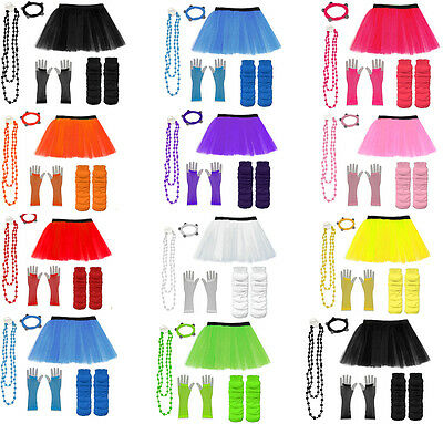NEON 80s FANCY DRESS HEN PARTY COSTUMES SET TUTU SKIRT LEG WARMER GLOVES BEADS • 6.49£