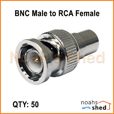 AU22 • Buy 50 X BNC Male To RCA Female Security CCTV Camera Coax Video Adaptor Connector
