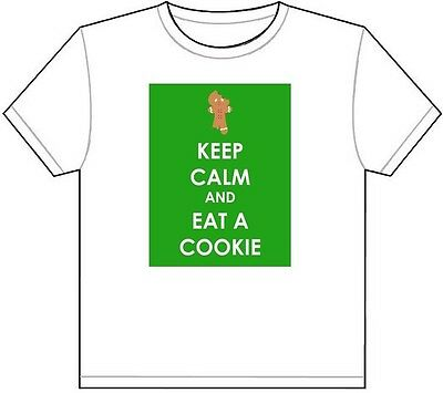$20.95 • Buy KEEP CALM AND EAT A COOKIE T-SHIRT TEE PICTURE PHOTO Ginger Bread Man Candy 1951