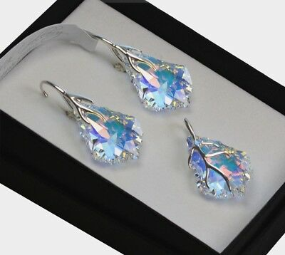£27.99 • Buy  925 Silver Earrings/Necklace/Set *CRYSTAL AB* Baroque Crystals From Swarovski®