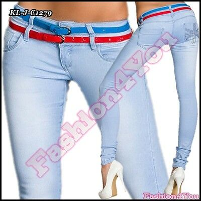 £13.99 • Buy Sexy Ladies Light Blue Jeans Womens Skinny Hipsters + Belts Size 8,10,12,14 UK