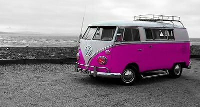 £30 • Buy VW Camper Van Pink Canvas Multi Sizes Wall Art Poster Print Surfing Campervan
