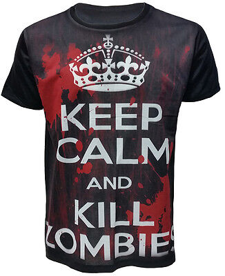 £7.99 • Buy  Keep Calm And Kill Zombies Bloody  Mens Black Sublimation T-Shirt New Top Tee