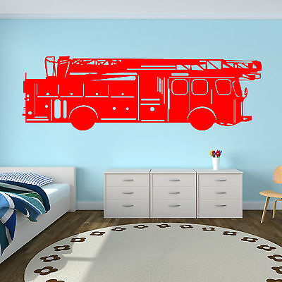 £10.99 • Buy FIRE ENGINE Wall Art Vinyl Room Sticker Childrens Bedroom Decal Toy Cars