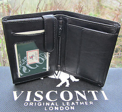 $ CDN38.56 • Buy Mens RFID Visconti Wallet Quality Soft Real Leather Black New In Gift Box HT11