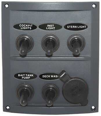 AU44.90 • Buy 5 Gang & 1 Power Socket Toggle Switch Panel Grey Splash Pre- Wired With Fuses.