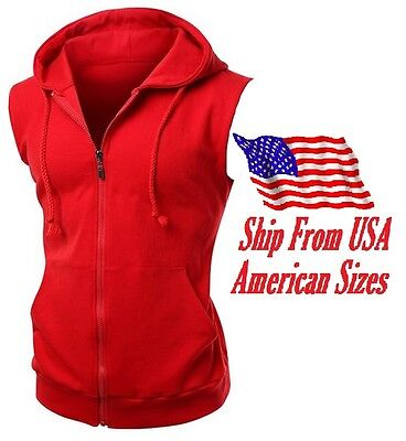 $19.99 • Buy New Men's Red Vest Zipper Hoodie Sweatshirt Biker Gym MMA Boxing Workout Beast
