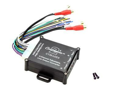 Line Output Converter Hi Low Level Adapter Speaker To RCA 4 Ch Auto Remote On • 14.99£