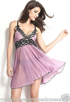 £11.50 • Buy See Through Babydoll Sheer Negligee Xxl Lingerie 12-14 Queen Size Chemise Purple