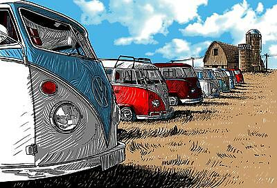 £35 • Buy VW Camper Vans Stretched Canvas Wall Art Poster Print Surfing Van Volkswagon