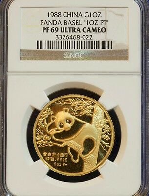 $9995 • Buy Rare 1988 CHINA Gold Panda SWISS Basel Coin AU PT ERROR NGC PF69 Certify