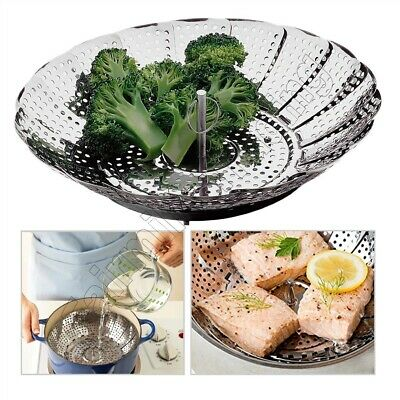 9  Stainless Steel Vegetable Steamer Basket Collapsible Cooking Cooker Colander  • 5.95£