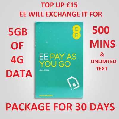 £0.99 • Buy EE SIM CARD Pay As You Go Nano Micro Standard 5GB NET For IPHONE 10 X & XS 10S