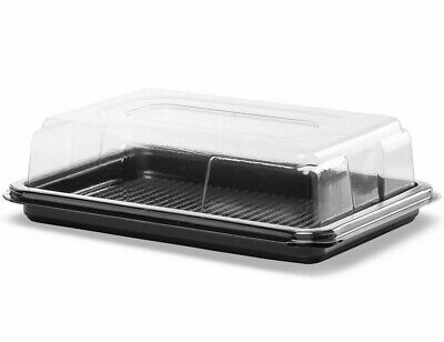 50 X Black Mini Rectangular Sandwich Platters + Clear Lids Cakes Buffets Party • 29.28£