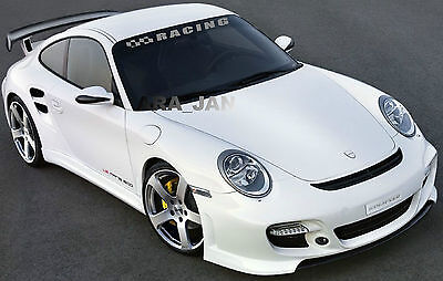 RACING Windshield Flag Decal Stickers Sport Car Sticker SILVER • 29.96$