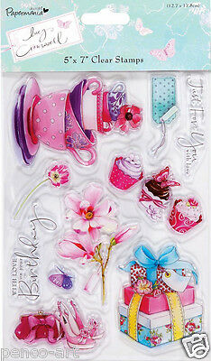 Clear Papermania Stamp Set Of 10 Stamps Lucy Cromwell Teacups Cupcakes Flowers • 6.99£