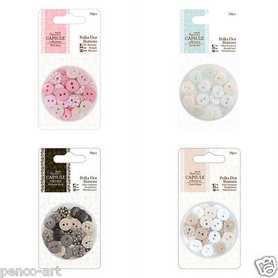 £2.99 • Buy Docrafts Papermania Polka Dot Buttons Button Capsule Collection 30pcs 10mm
