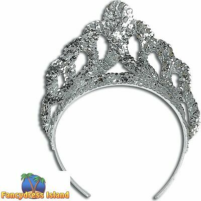 FAIRYTALE PRINCESS SILVER SEQUIN CROWN TIARA Womens Ladies Fancy Dress Accessory • 3.79£