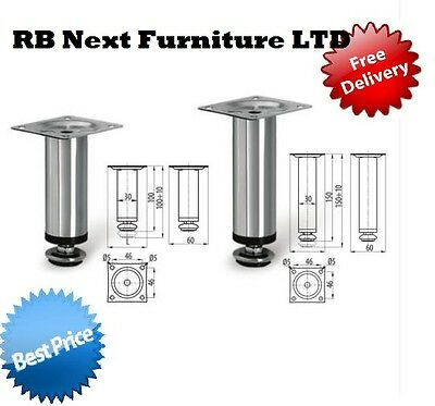 4 X Adjustable Plinth Leg For Kitchen Cabinet Furniture Sofa Chrome 100mm 150mm • 7.99£