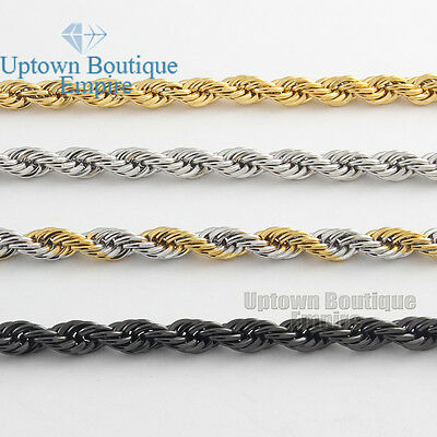 $8.73 • Buy Men Women's Stainless Steel 2/3/4/5mm Rope Necklace Chain 18-36  Link
