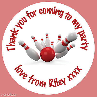£1.50 • Buy Personalised Bowling Ball Birthday Stickers Party Thank You Sweet Cone - 425